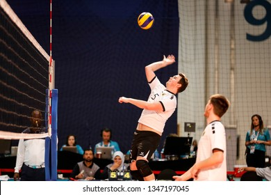 Abu Dhabi, United Arab Emirates - March 20, 2019: German volleyball player during Special Olympics World Games in Abu Dhabi National Exhibition Centre.