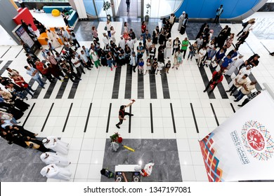 Abu Dhabi, United Arab Emirates - March 20, 2019: Performer entertains  the crowd during Special Olympics World Games in Abu Dhabi National Exhibition Centre.