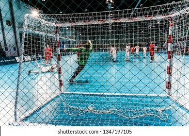 Abu Dhabi, United Arab Emirates - March 20, 2019: UAE handball team fights Russia in the finals during Special Olympics World Games in Abu Dhabi National Exhibition Centre.