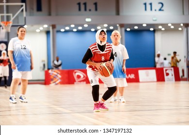Abu Dhabi, United Arab Emirates - March 20, 2019: Egypt female basketball team fights Kazakhstan during Special Olympics World Games in Abu Dhabi National Exhibition Centre.