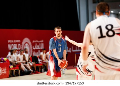 Abu Dhabi, United Arab Emirates - March 20, 2019: USA basketball team fights Great Britain during Special Olympics World Games in Abu Dhabi National Exhibition Centre.