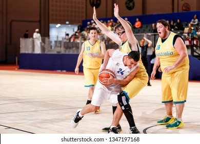 Abu Dhabi, United Arab Emirates - March 20, 2019: Israel basketball team fights Australia during Special Olympics World Games in Abu Dhabi National Exhibition Centre.