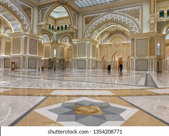 Abu Dhabi, United Arab Emirates, March, 19, 2019. Presidential Palace, Palace of Qasr al-Watan (the Palace of the nation) inside in Abu Dhabi city in Arab Emirates