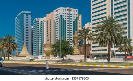 Abu Dhabi / United Arab Emirates - March 2019: Nice views. Modern architecture and traditions. Arabic tableware as an architectural forms