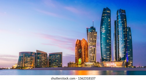 ABU DHABI, UNITED ARAB EMIRATES - FEB 10, 2019: Etihad Towers in Abu Dhabi, United Arab Emirates after sunset