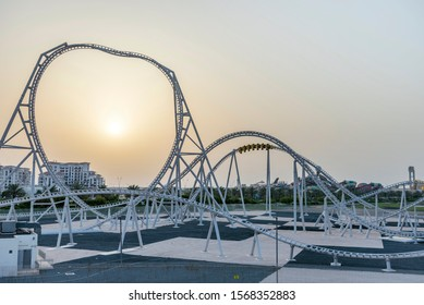 ABU DHABI, UNITED ARAB EMIRATES - MAY 10, 2019: Formula Rossa, the fastest roller coaster in the world in Ferrari World amusement park at Yas Island -  UAE.