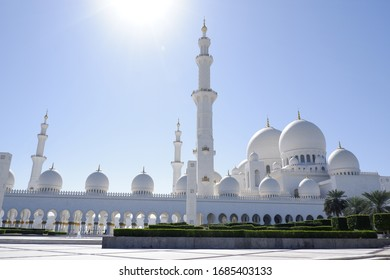 Abu Dhabi - United Arab Emirates Grand Mosque on January 2020. This is a symbol building and center for worship in this city. And It's a famous and popular for tourism in UAE.