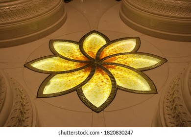 Abu Dhabi, United Arab Emirates - December 2014 - Decorative stone inlays at Sheikh Zayed Grand Mosque