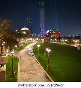 Abu Dhabi, United Arab Emirates - view to the east from the Emirates Palace hotel, at evening/night time.