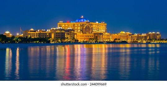 ABU DHABI, UNITED ARAB EMIRATES - MAY 23, 2013: Luxury Emirates Palace hotel in Abu Dhabi, UAE.