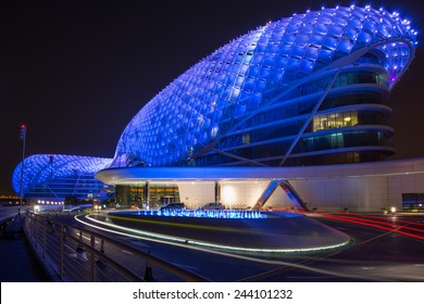ABU DHABI, UNITED ARAB EMIRATES - MAY 23, 2013: The Yas Hotel - the iconic symbol of Abu Dhabi's Grand Prix in Abu Dhabi, UAE.