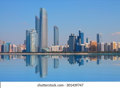 Abu Dhabi, United Arab Emirates - CIRCA July 1, 2015: Abu Dhabi boasts of a great skyline composed of modern buildings across the sealine