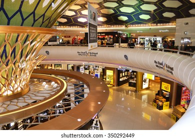 Abu Dhabi, United Arab Emirates - December 11, 2015: Abu Dhabi airport duty free. Abu Dhabi airport is one of the most visited airports in the Middle East.