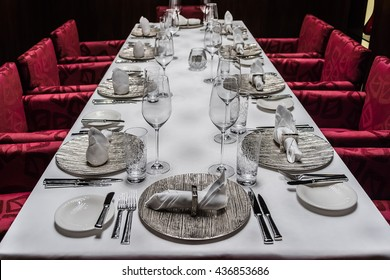 ABU DHABI, UNITED ARAB EMIRATES - SEPTEMBER 5, 2015: Served table in Restaurant. Luxury 5 stars Hotel Ritz-Carlton.