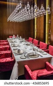 ABU DHABI, UNITED ARAB EMIRATES - SEPTEMBER 5, 2015: Served table in Restaurant. Luxury 5 stars Hotel Ritz-Carlton.