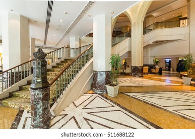 Abu Dhabi, United Arab Emirates - October 5, 2016: Lobby of the Sheraton Abu Dhabi Hotel & Resort on Corniche Road in Abu Dhabi, a 5 star luxury hotel. Sheraton is owned by Marriott International.