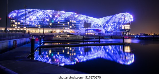 ABU DHABI, UNITED ARAB EMIRATES - FEBRUARY 01, 2016: The Yas Hotel - the iconic symbol of Abu Dhabi's Grand Prix in Abu Dhabi, UAE.