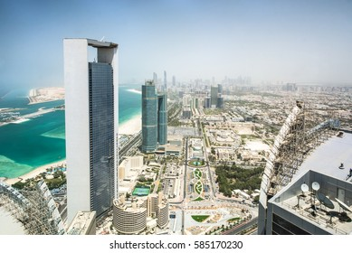 Abu Dhabi, United Arab Emirates - April 12, 2015: Abu Dhabi skyscraper above in UAE.
