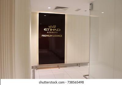 ABU DHABI, UNITED ARAB EMIRATES – FEBRUARY 25 2016: Etihad Airways Premium Lounge logo on display in the Abu Dhabi International Airport's international departures area.