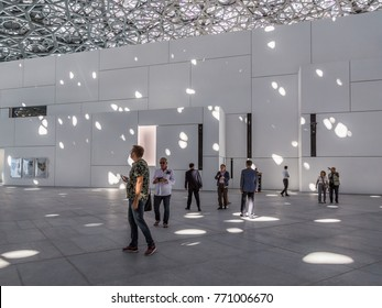 "Abu dhabi, United Arab Emirates, December 5, 2017: The Louvre. Swathes of light from the ""Rain of Light"" dome, in the Louvre, Abu Dhabi."
