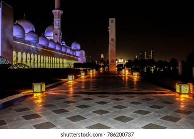 Abu Dhabi, United Arab Emirates - 01/03/2018 - Inner courtyard and Night view of Sheikh Zayed Grand Mosque (Masjid), minaret of the largest mosque in the United Arab Emirates