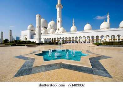 ABU DHABI, UNITED ARAB EMIRATES - DEC 28, 2017: Exterior of the Sheikh Zayed Mosque in Abu Dhabi. It is the largest mosque in the country.