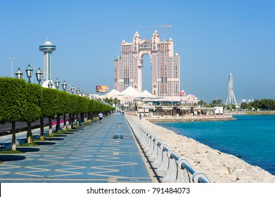 ABU DHABI, UNITED ARAB EMIRATES - DEC 30, 2017: Corniche boulevard along the coastline in Abu Dhabi.