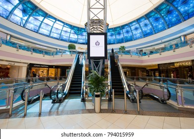 ABU DHABI, UNITED ARAB EMIRATES - DEC 31, 2017: Interior of Marina Mall in Abu Dhabi. This mall is the biggest and most modern of the city and spread out over 3 levels. Very popular by tourists.