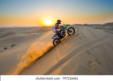 ABU DHABI, UNITED ARAB EMIRATES - JAN 01, 2018: Four wheel drive through the desert in the United Arab Emirates.