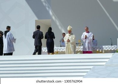Abu dhabi /United Arab Emirates-Feb-5-2019:Pope Francs's visit to UAE marks the first time a pope has been to this country.The catholic community in UAE took part in the pontifical high mass by him.