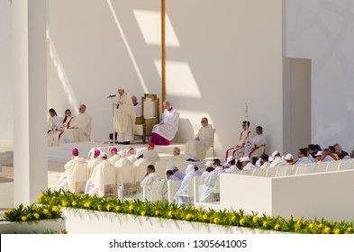 ABU DHABI, UNITED ARAB EMIRATES-FEBRUARY 5, 2019: Pope Francis historic papal visit on Tuesday, February 5, 2019 in Abu Dhabi, United Arab Emirates. This is the first ever papal visit to Muslim Gulf.