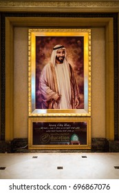 ABU DHABI,UNITED EMIRATES-20 MARCH 2017:Picture of Sheikh Zayed bin Sultan Al Nahyan who built Emirates Palace hotel