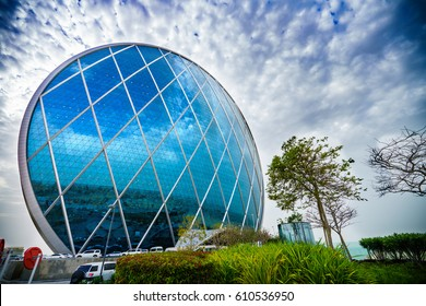 ABU DHABI,UNITED EMIRATES-20 MARCH: Aldar headquarters building on March 20, 2017 UAE. Aldar headquarters is world first circular building, high for 110m with 61,900 m2 (666,000 sq ft) of floor area