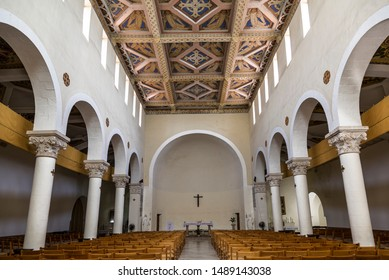 ABU GHOSH, ISRAEL-JUNE 09, 2018: Interior of the monastery of Virgin Mary and the Ark of the Covenant, Abu Ghosh, Israel