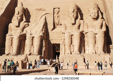 "ABU SIMBEL 11 25 2008:  Abu Simbel temples are two massive rock temples in Abu Simbel in Nubia, southern Egypt.The complex is part of the UNESCO World Heritage Site known as the ""Nubian Monuments,"