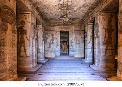 ABU SIMBEL, EGYPT - DEC 3, 2014: Interior of The Great Temple of Ramesses II on the sunrise, Abu Simbel, Egypt. One of the main sights of Egypt
