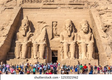 Abu Simbel, Egypt - Nov 6th 2018 - Hundreds of tourist having fun in front of the big statues of Abu Simbel temple in southern Egypt