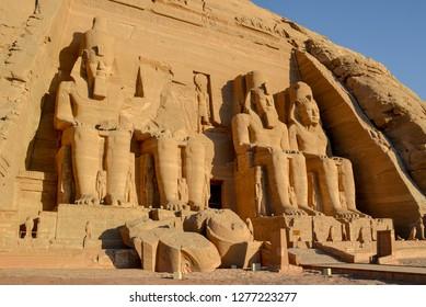 Abu Simbel, Egypt, November 15th, 2018; The great temple of Abu Simbel, Abu Simbel, Egypt.