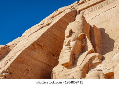 Abu Simbel rock statue of Ramesses II at the UNESCO heritage site in Abu Simbel village Egypt
