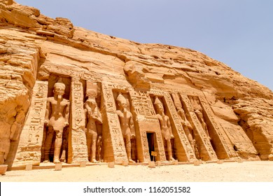 Abu Simbel, The Rock Temple in Nubia, Southern Egypt commemorating Pharaoh Ramesses II and his wife Queen Nefertari, Egypt, Africa