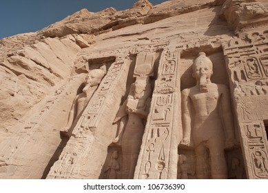Abu Simbel Temple of King Ramses II, a masterpiece of pharaonic arts and buildings in Old Egypt