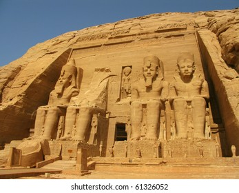 Abu Simbel Temple of  King Ramses II, a masterpiece of pharaonic arts and buildings in Old Egypt.