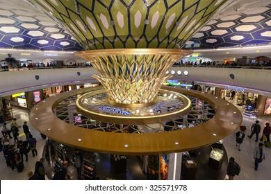 ABU-DHABI, UAE - CIRCA 2014: inside the international airport Terminal 1 in Abu-Dhabu, United Arab Emirates circa 2014.