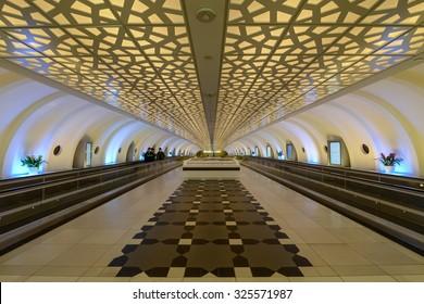 ABU-DHABI, UAE - CIRCA 2014: ornament on the ceiling inside the international airport Terminal 1 in Abu-Dhabu, United Arab Emirates circa 2014.