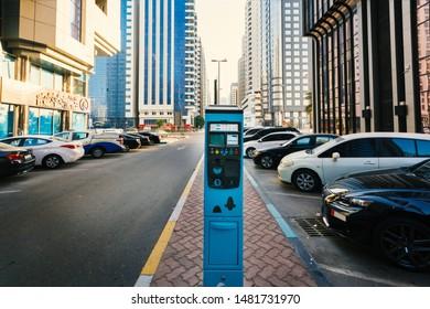 Abudhabi, UAE- July 26, 2019: Parking ticket payment machine in Abudhabi.