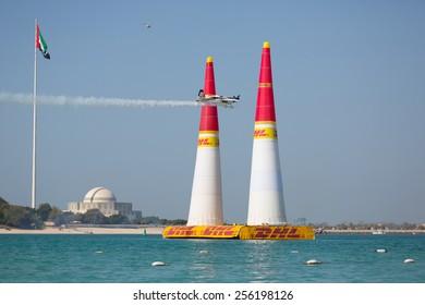 ABU-DHABI, UNITED ARABIAN EMIRATES - FEBRUARY 14 . Racing airplane at the stage of redbull airrace competition on february 14, 2015 in Abu-Dhabi, United Arabian Emirates