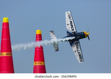ABU-DHABI, UNITED ARABIAN EMIRATES - FEBRUARY 14 . Racing airplane at the stage of redbull airrace competition on february 14, 2015 in Abu-Dhabi, United Arabian Emirates