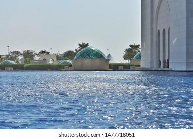 Abudhabi,Uae-November 26,2018: water pool infront of the sheik zayed masjid.