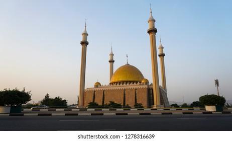 Abuja, Federal Capital Territory, Nigeria- December 23, 2018: National Mosque Abuja Nigeria