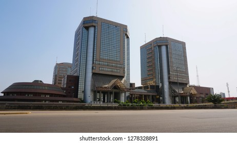 Abuja, Federal Capital Territory Nigeria- December 15, 2018: Commercial buildings in Abuja City